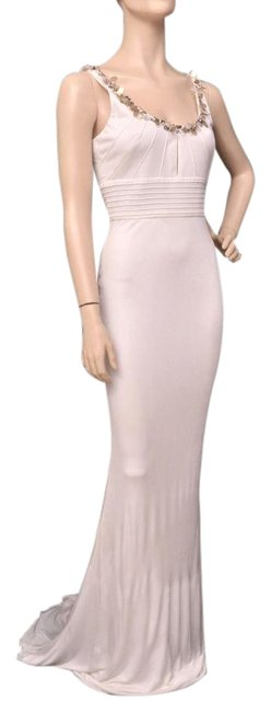 Item - White New Crystal Embellished Gown Long Formal Dress Size 6 (S)