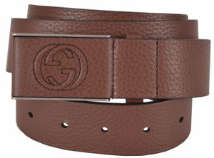 Gucci New Gucci Men's 368188 Brown Leather Interlocking GG Buckle Belt 38 95