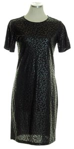Tibi short dress Black Stretch Knit Animal Print Shift Short Sleeve on Tradesy