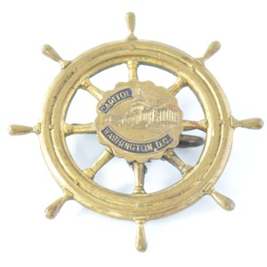 Vintage Boat Wheel Pin | Washington DC Brooch