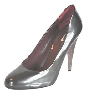 Miu Miu Patent Leather Round Toe Grey Pumps