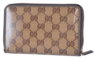 Gucci Gucci Crystal Line Shiny Coated Canvas GG Guccissima Zip Around Wallet