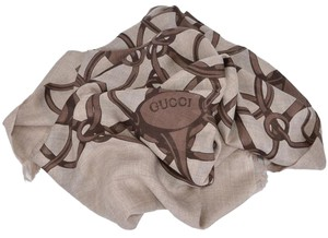 Gucci Gucci Women's 367222 Brown Modal Wool Horsebit Logo Pattern Scarf Wrap