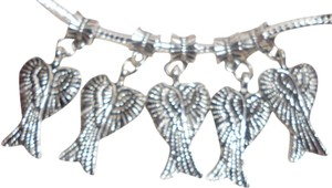 Bella & Chloe Set of 5- Sterling Silver Angel Wings, Dangling Angel Wings, They Bring Luck on your Europeans Bracelet or Necklace.