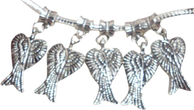 Item - Silver Set Of 5- Sterling Angel Wings Dangling Angel Wings They Bring Luck On Your Europeans Bracelet Or Necklace. Charm