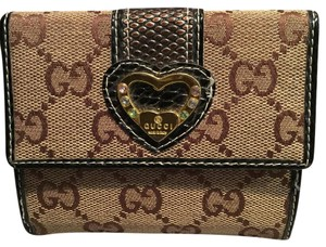 Gucci Gucci Python Gold Heart GG Pattern Brown and Leather Bifold/Wallet