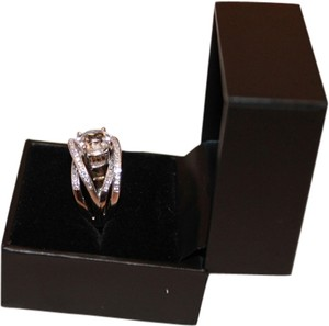 Elegant White Gold Plated Criss Cross Ring with Natural Diamonds and White Sapphire