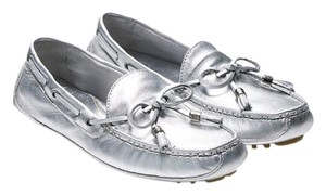 Cole Haan All Soft Leather Drivers Silver Flats
