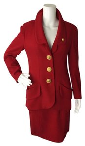 Chanel Chanel 40 Small 6 Red Blazer Suit Jacket Skirt Set Large Gold Buttons