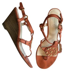 Coach Gold Hardware Studded Orange Wedges