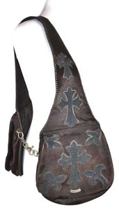 A&G Denim Saddle Pony Hair Shoulder Bag