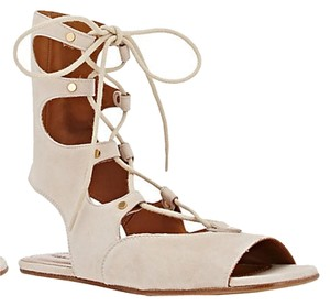 Chlo Gladiator Flat Suede Lace-up Light beige Sandals