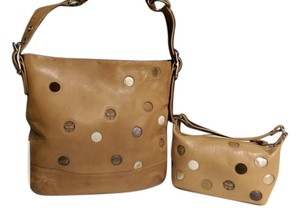 Coach Leatherwear Vintage Caramel,brown, polka dot Messenger Bag