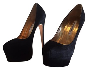 Brian Atwood Black Suede Platforms