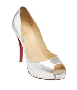 Christian Louboutin Open-toe Leather Silver Pumps