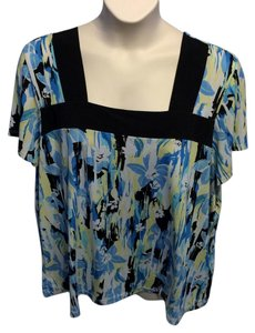 Studio 1940 Plus-size Casual Floral Stretchy Square Neckline T Shirt Blue, Yellow, Black and White