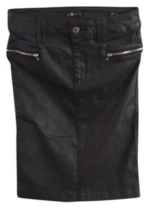 7 For All Mankind Skirt Blk coated