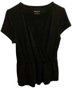 Merona Autumn Short Sleeve Swoop Top Black