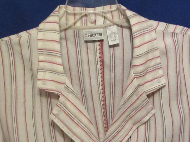 Chico's off white with multi stripe Jacket