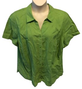 Kim Rogers Plus-size Short Sleeve Button Down Shirt Green