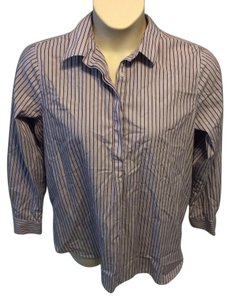 Lands' End Classic Striped Non-iron Long Sleeve Cotton Button Down Shirt Purple