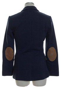 H&M Knit Long Sleeve Elbow Patch Two-button Blue Blazer