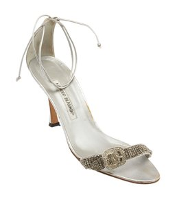 Manolo Blahnik Leather Crystal Ankle Strap Silver Formal