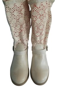 Shi by JOURNEYS Crochet Leather Cream Boots