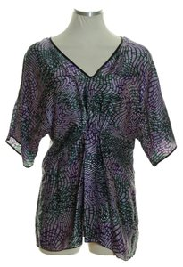 W by Worth Woven Silk Empire Wast Dolman Printed Top Multicolor