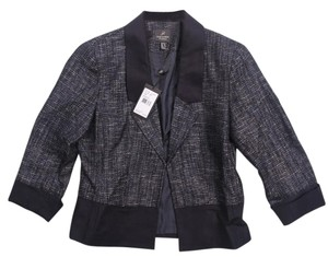 Adrianna Papell Tweed Metallic Sparkle Holiday Holiday Navy Jacket
