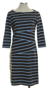 J.McLaughlin short dress Brown Blue Knit Striped Layered Sheath 3/4 Sleeve on Tradesy