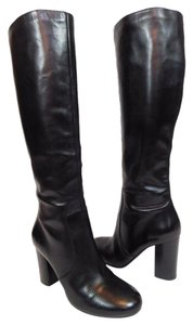 Via Spiga Leather Tall Knee High Black Boots