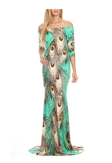 953045e601 60%OFF Peacock Feather Print Maxi Dress. Dress 50% Off #19588979 ...