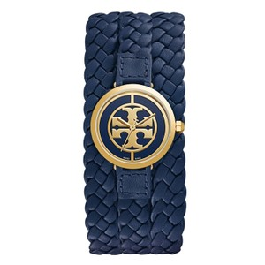 Tory Burch TRB4037 Tory Burch Reva Womens Watch Braided Navy Leather Gold Tone