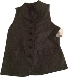 Marc by Marc Jacobs Designer Herringbone Vest Button Down Shirt Shadow Grey Melange Multi