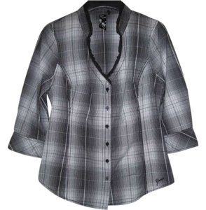 Guess Plaid Button Down Shirt Black and whitet