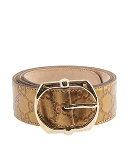 Gucci Gucci Bronze Leather Belt, Size 34 (102226)