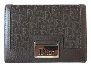 Dior DIOR STREET CHICK BROWN CANVAS LEATHER WALLET