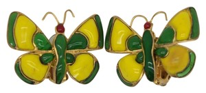 Chanel #7174R Green Yellow Gripoix Butterfly papillon Earring Clips