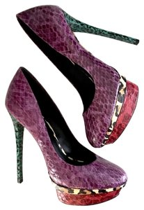 B Brian Atwood Purple, blue, red, leopard Platforms