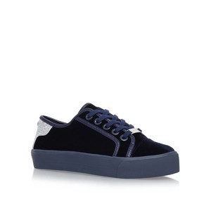 KG Kurt Geiger Velvet Feel Flat Sneakers Lace Up Navy Athletic