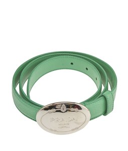 Prada Prada Green Leather Belt, Size See Measurements (102228)