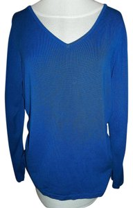 Notations Longsleeve Gathered Sides V-neck Top Blue