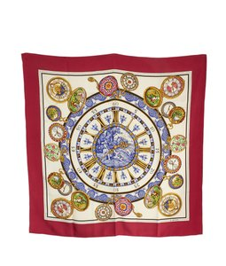 Loewe Loewe Hunting by Clocks Red Multi-Color Silk Scarf (102249)