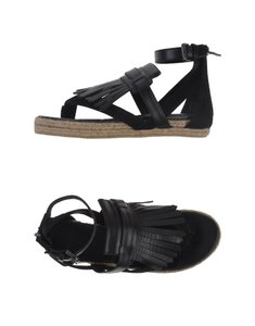 Neil Barrett Leather Suede Espadrille Fringe Black Sandals