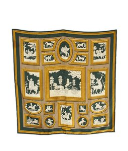 Herms Hermes Wedgwood Equestrian Green & Gold Silk Scarf (102250)