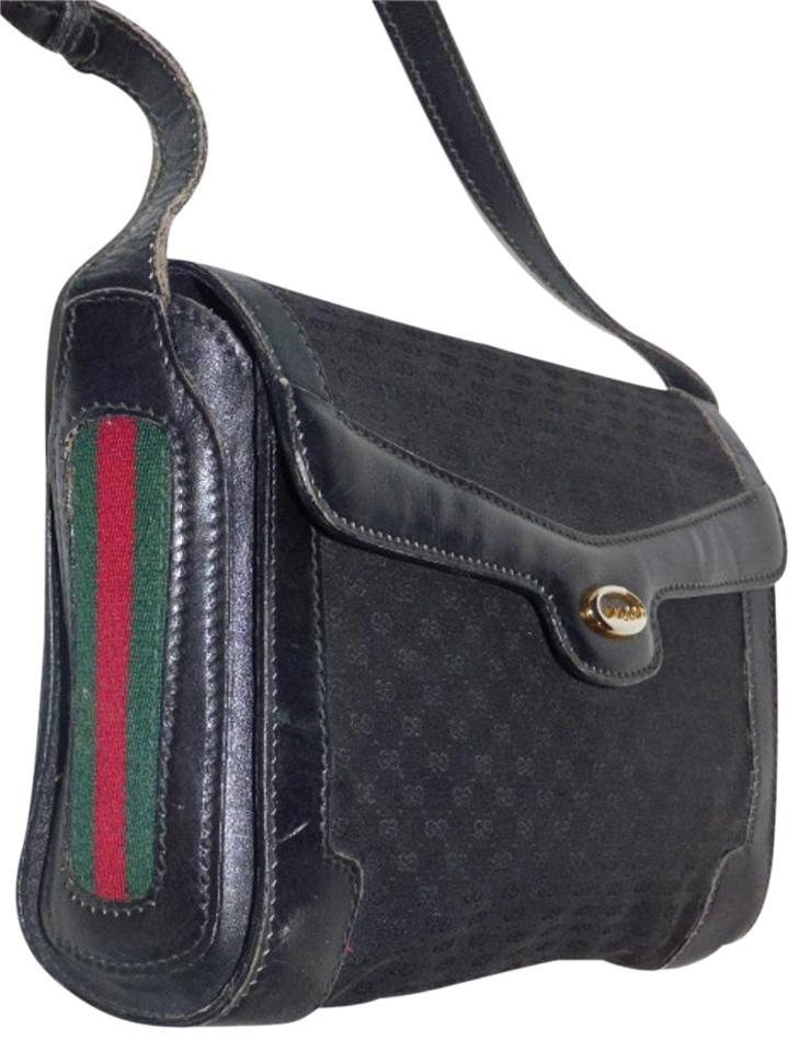 2d51da4c5e3a Gucci Vintage Purses Designer Purses Black with Small G Logo Print Canvas  Leather with Red and Green Striped Accents Leather Jacquard Fabric Cross  Body Bag