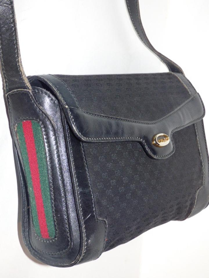 3bc8ee96d8bd Gucci Vintage Purses Designer Purses Black with Small G Logo Print Canvas  Leather with Red and Green Striped Accents Leather Jacquard Fabric Cross  Body Bag ...