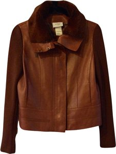 Akris Punto Fur Leather Luxury Rabbit Rust Leather Jacket