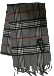 V. FRAAS Gray Multicolor Plaid Fall Winter Fringed Flannel Scarf